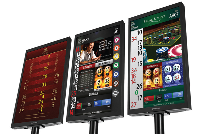 Cammegh Billboard display/monitor for american roulette casino gaming tables