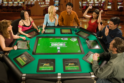 Eectronic poker table Lightning Poker for automatic, dealerless texas holdem, omaha poker games